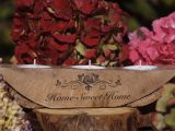 Rustic Candle Holder   Wooden Candle Stand   Tealight holder gift   Carved Candle Holder   Christmas Candle   Tealights Included