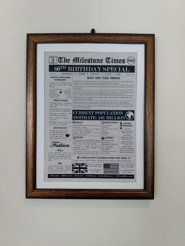 Front Page Newspaper for 60th birthday