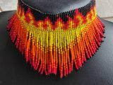 Beaded Choker Necklace With Fringe – Flames