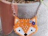 Hand Beaded Fox Necklace